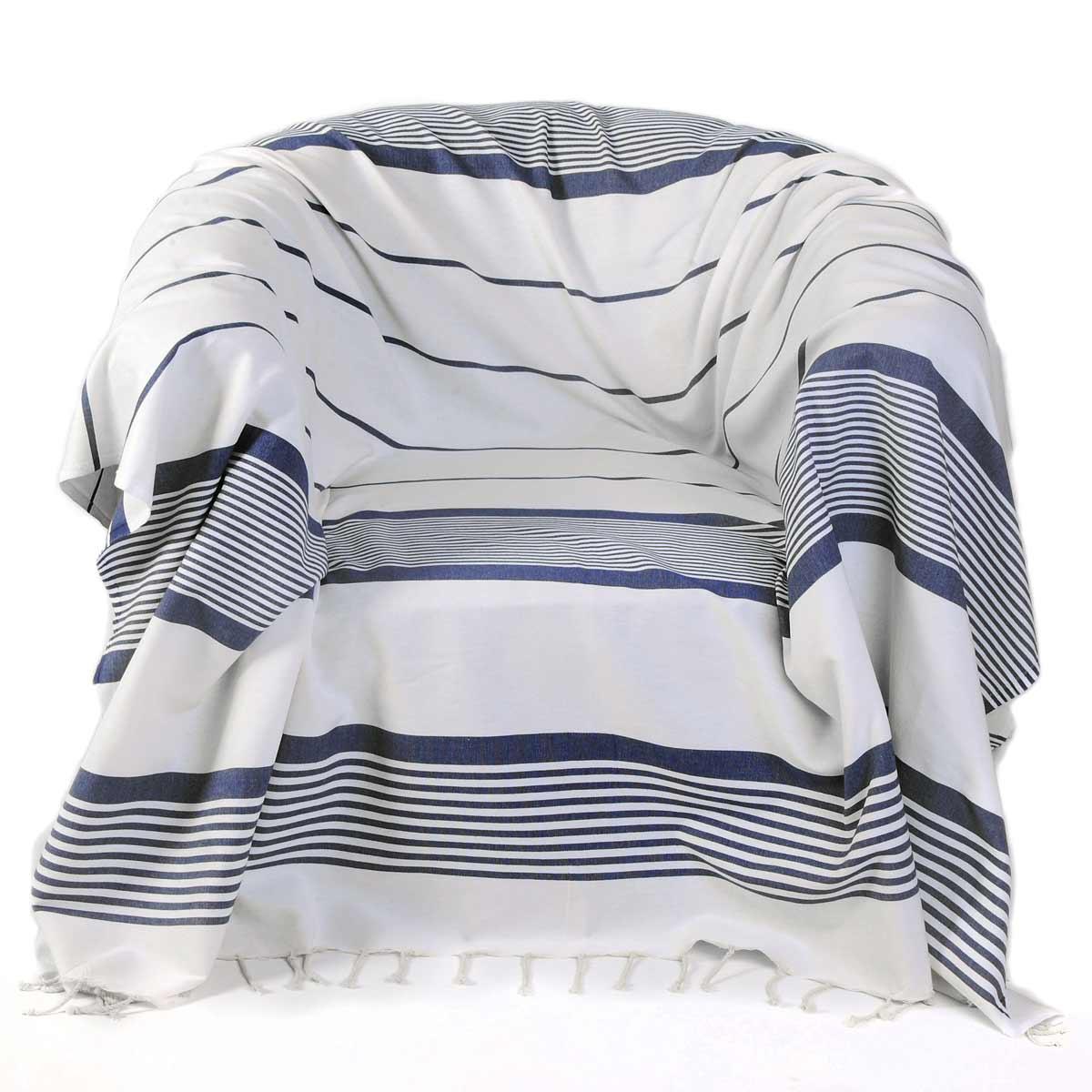 CASABLANCA - Jeté fauteuil coton fond blanc rayures bleu roi 200 x 200