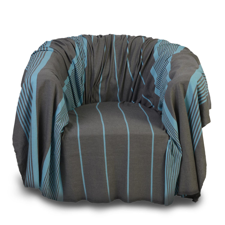 CARTHAGE - Jeté fauteuil coton anthracite rayures turquoises 200 x 200