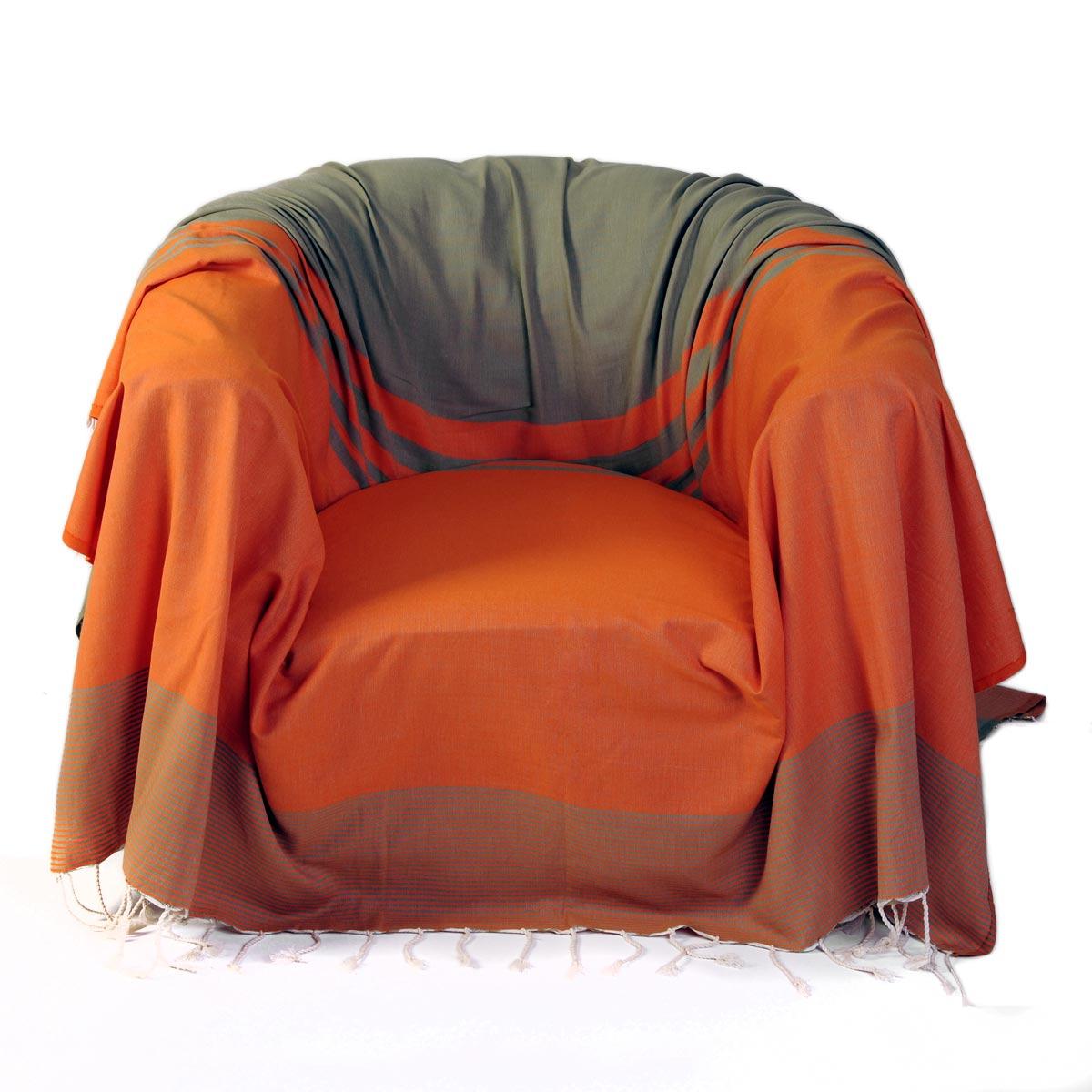 TANGER - Jeté de fauteuil coton rayures orange vert amande 200 x 200