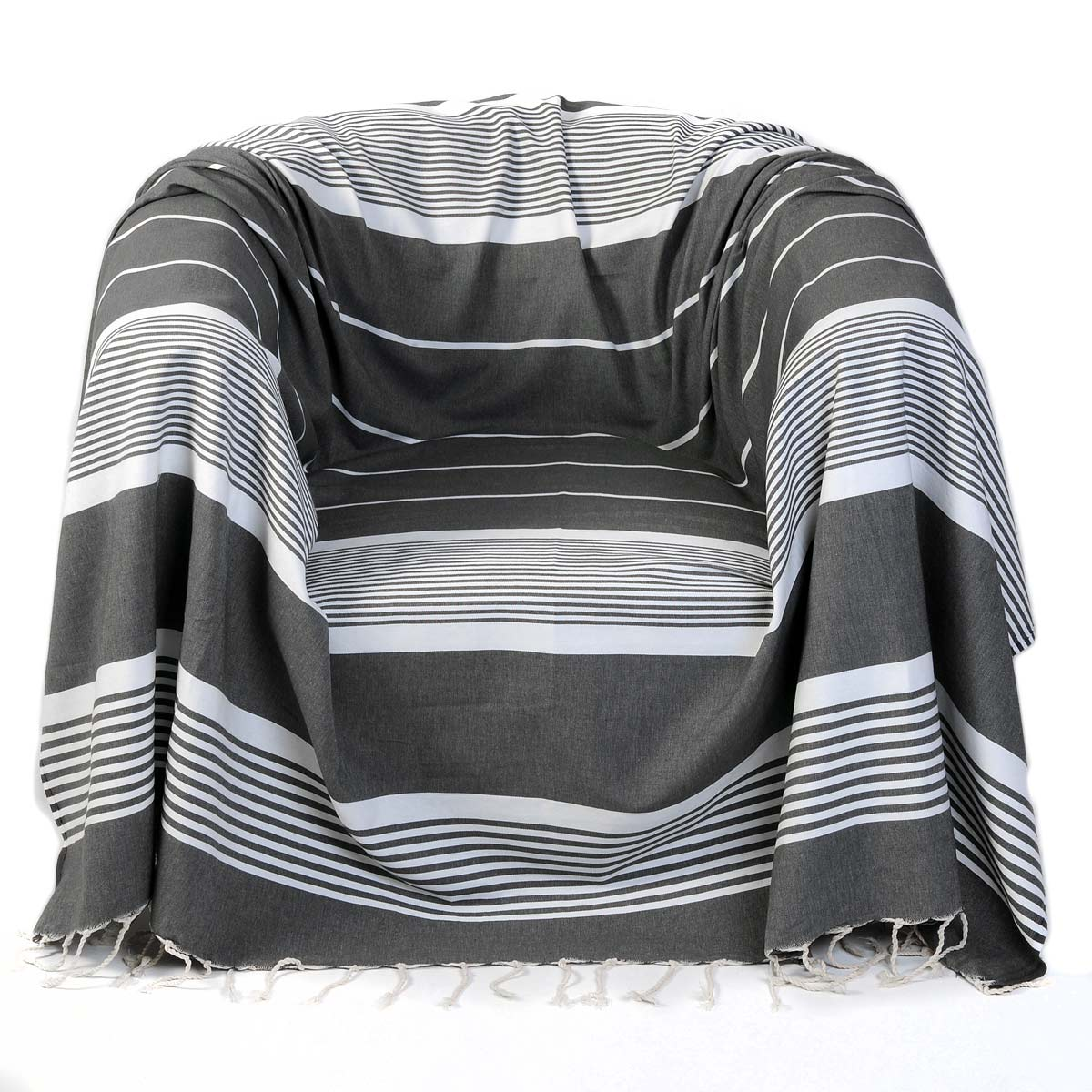 CARTHAGE - Jeté fauteuil coton anthracite rayures blanches 200 x 200