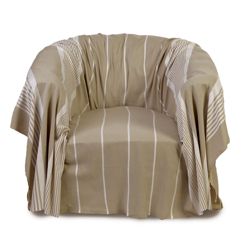 CASABLANCA - Jeté de fauteuil coton écru et rayures blanches 200 x 200