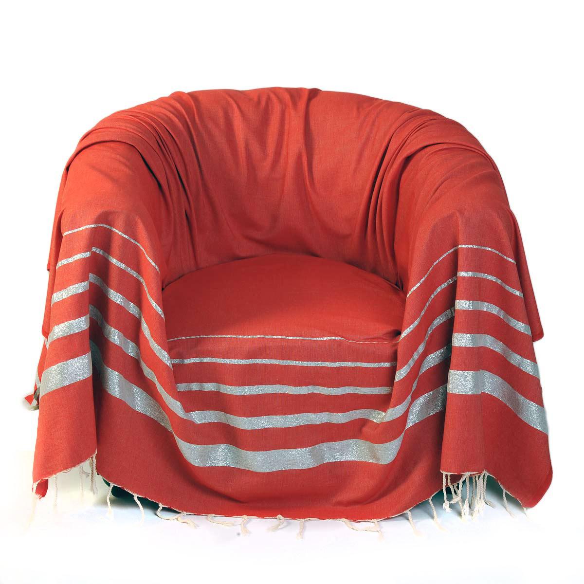 ISTANBUL - Jeté de fauteuil coton rouge lurex rayures argent 200 x 200