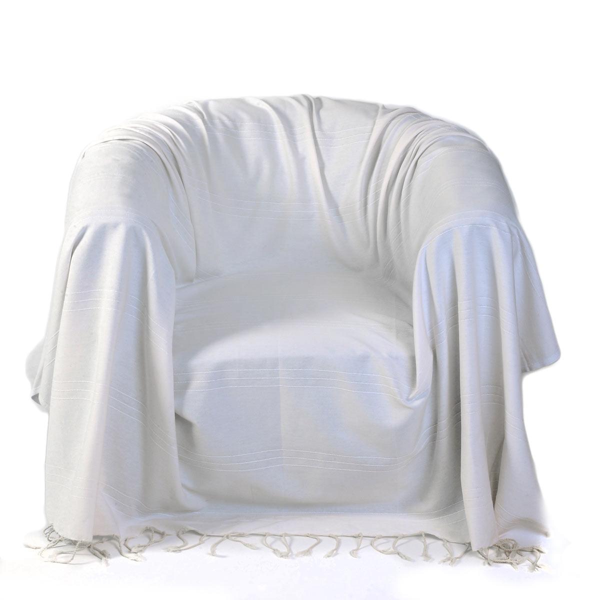 FES - Jeté de fauteuil coton reliefs discrets uni blanc-écru 200 x 200