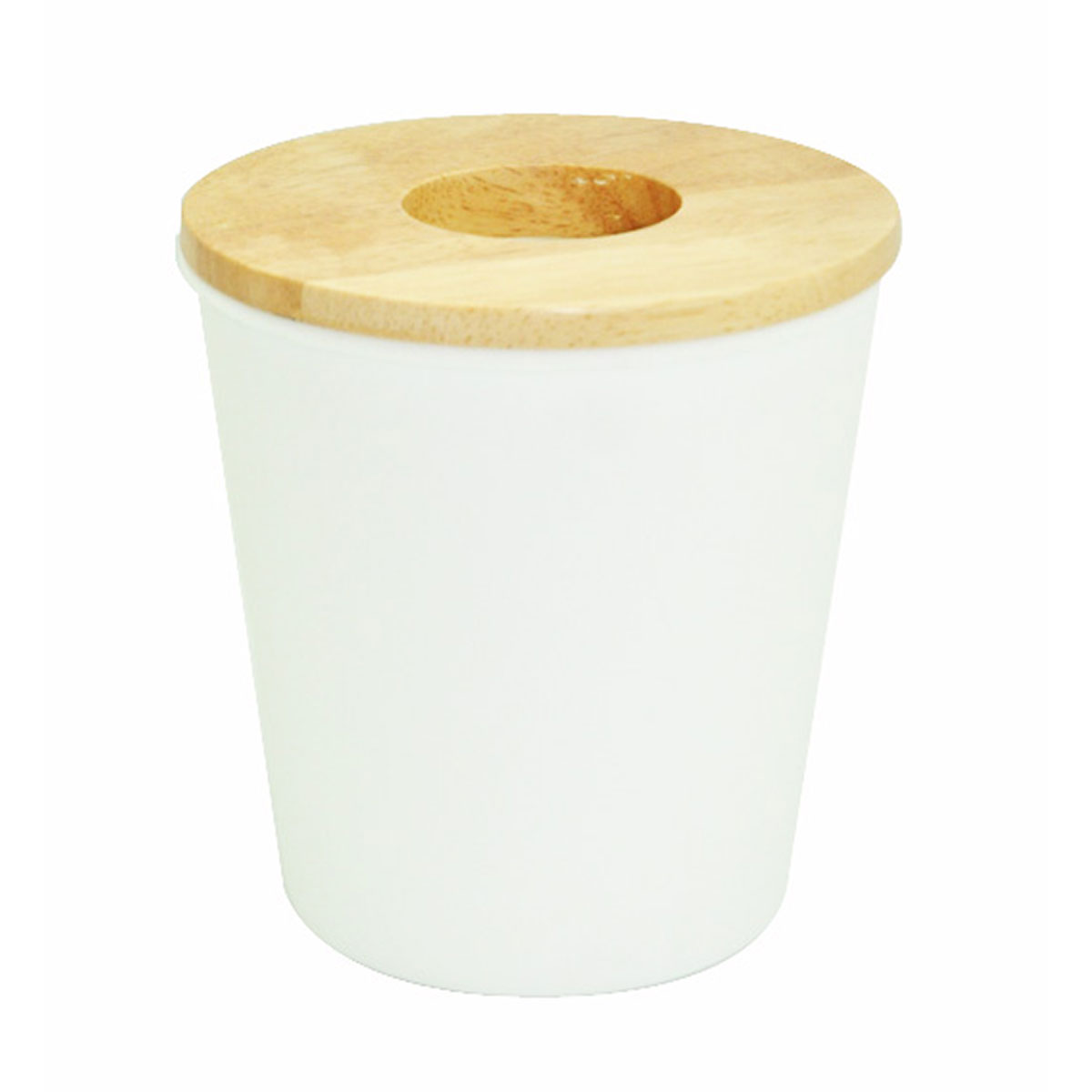 Mini poubelle blanche avec du bois d'hévéa blanc
