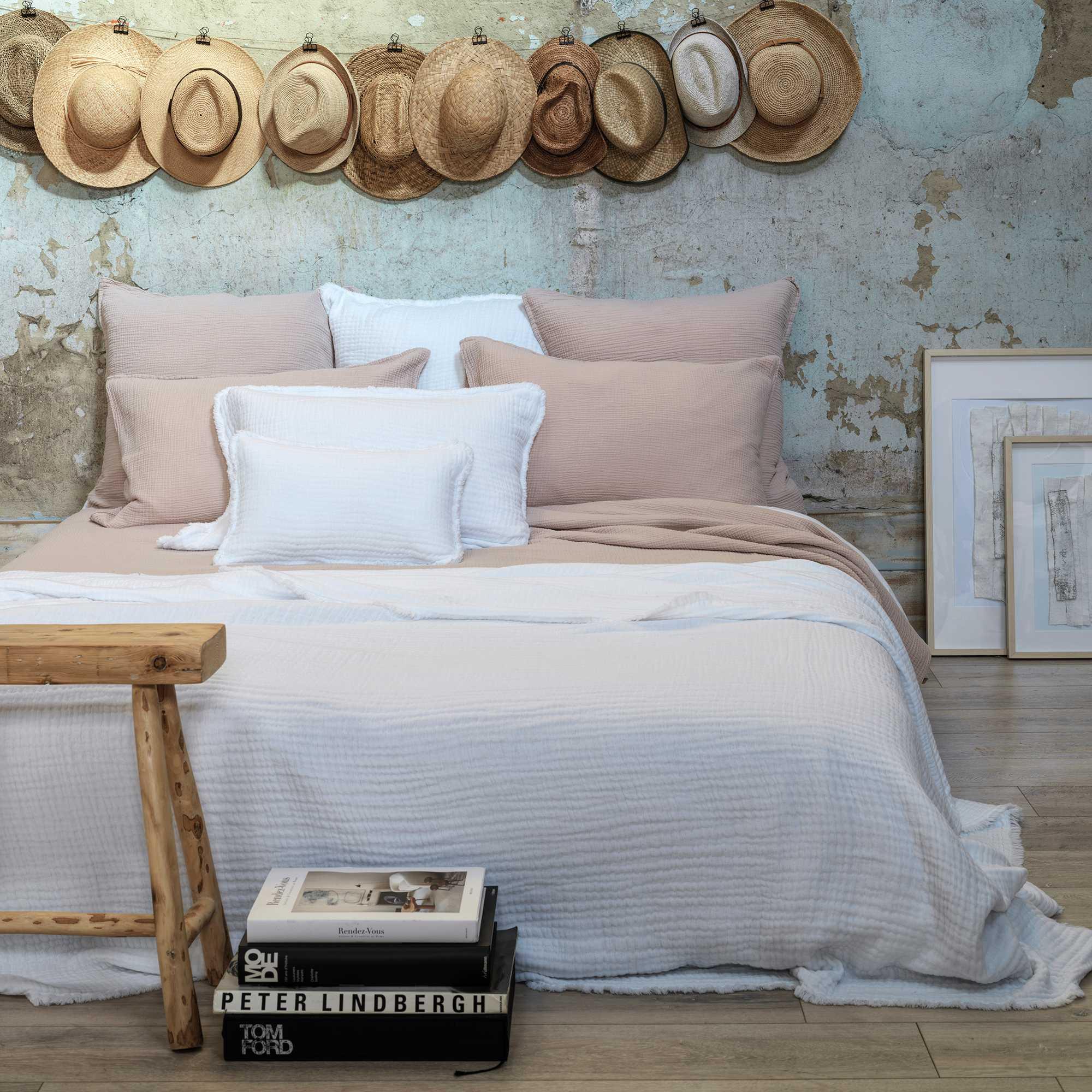 Dessus de lit en gaze de coton blanc 260X270 CM