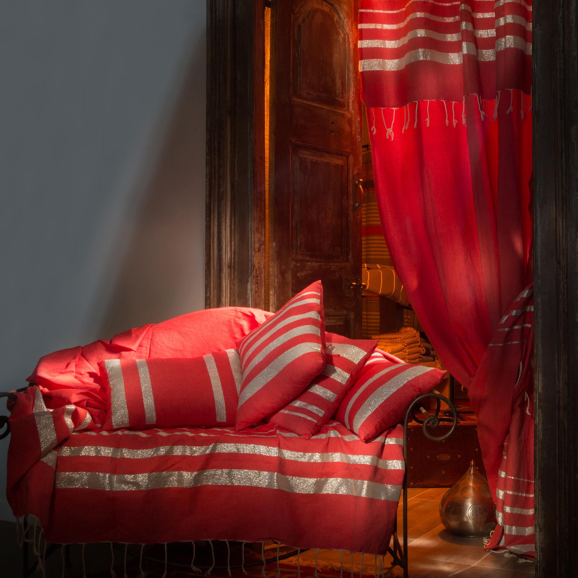ISTANBUL - Rideau ajustable coton rouge lurex argent 140 x 250 à 280