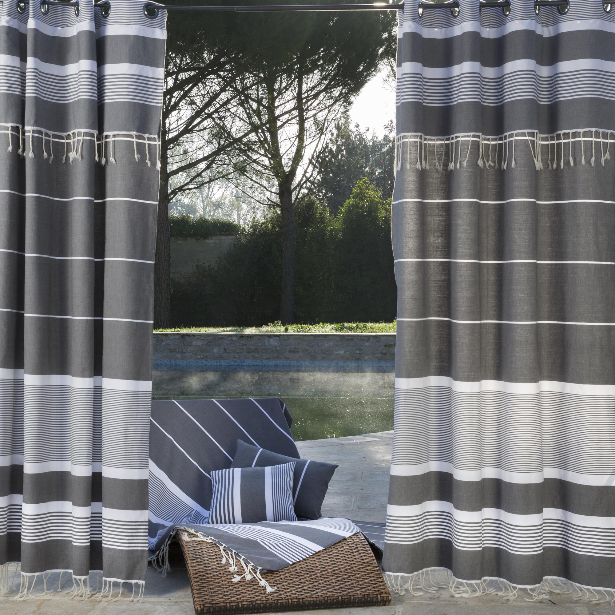 CARTHAGE - Rideau ajustable coton anthracite et blanc 140 x 250 à 280