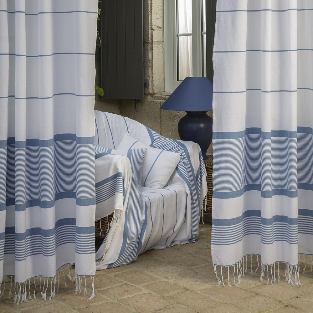 CARTHAGE - Rideau ajustable 100% coton blanc et bleu 140 x 250 à 280