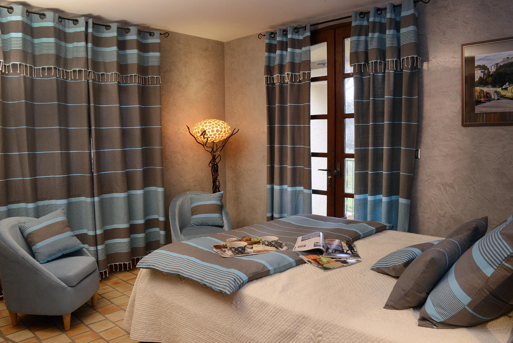 CARTHAGE - Rideau ajustable coton anthracite turquoise 140 x 250 à 280