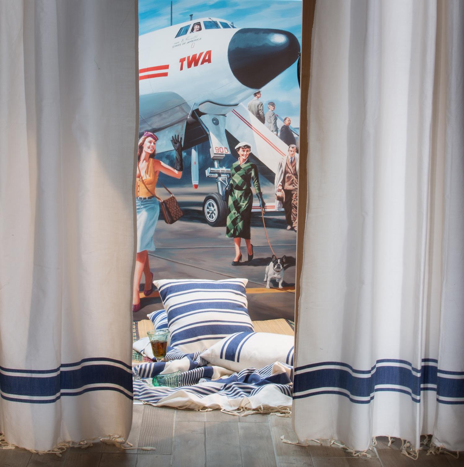 CASABLANCA - Rideau ajustable coton blanc et bleu roi 140 x 250 à 280