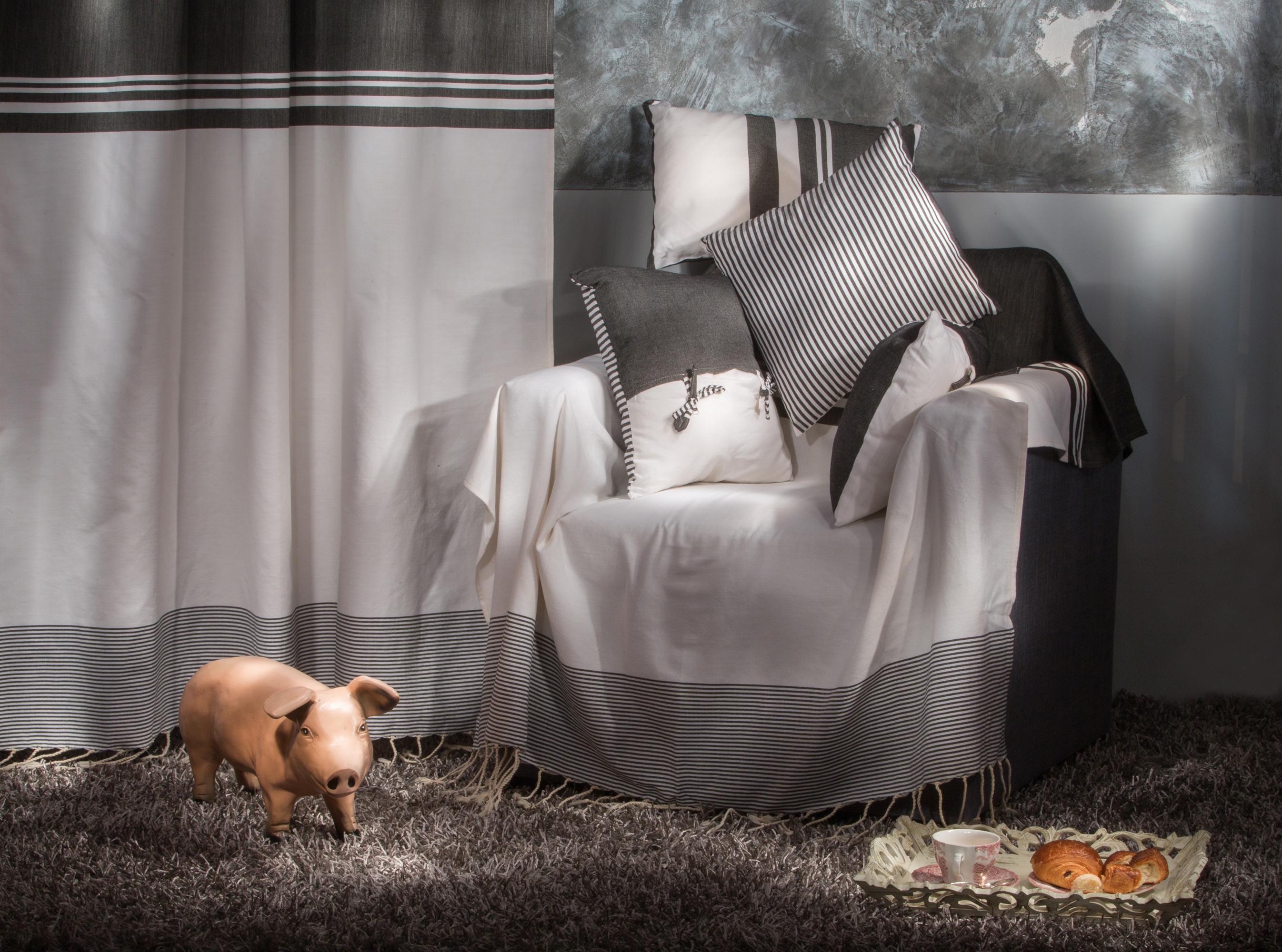 TANGER - Rideau ajustable 100% coton noir et blanc 140 x 290 à 320