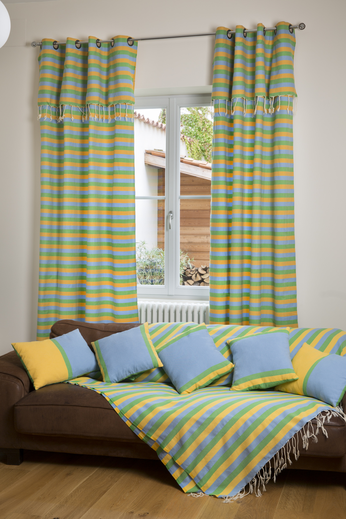 DJERBA - Rideau ajustable coton jaune turquoise vert 140 x 210 à 240
