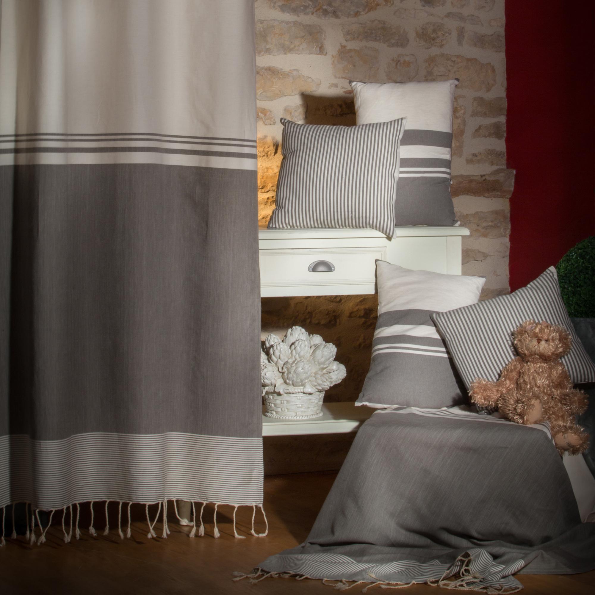 TANGER - Rideau ajustable coton rayures écru et taupe 140 x 210 à 240