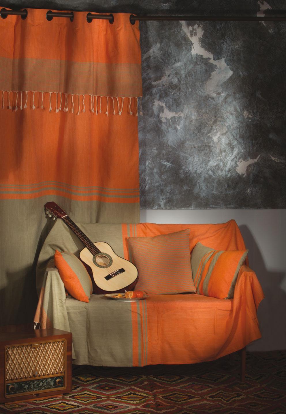 TANGER - Rideau ajustable coton rayures orange et vert 140 x 250 à 280