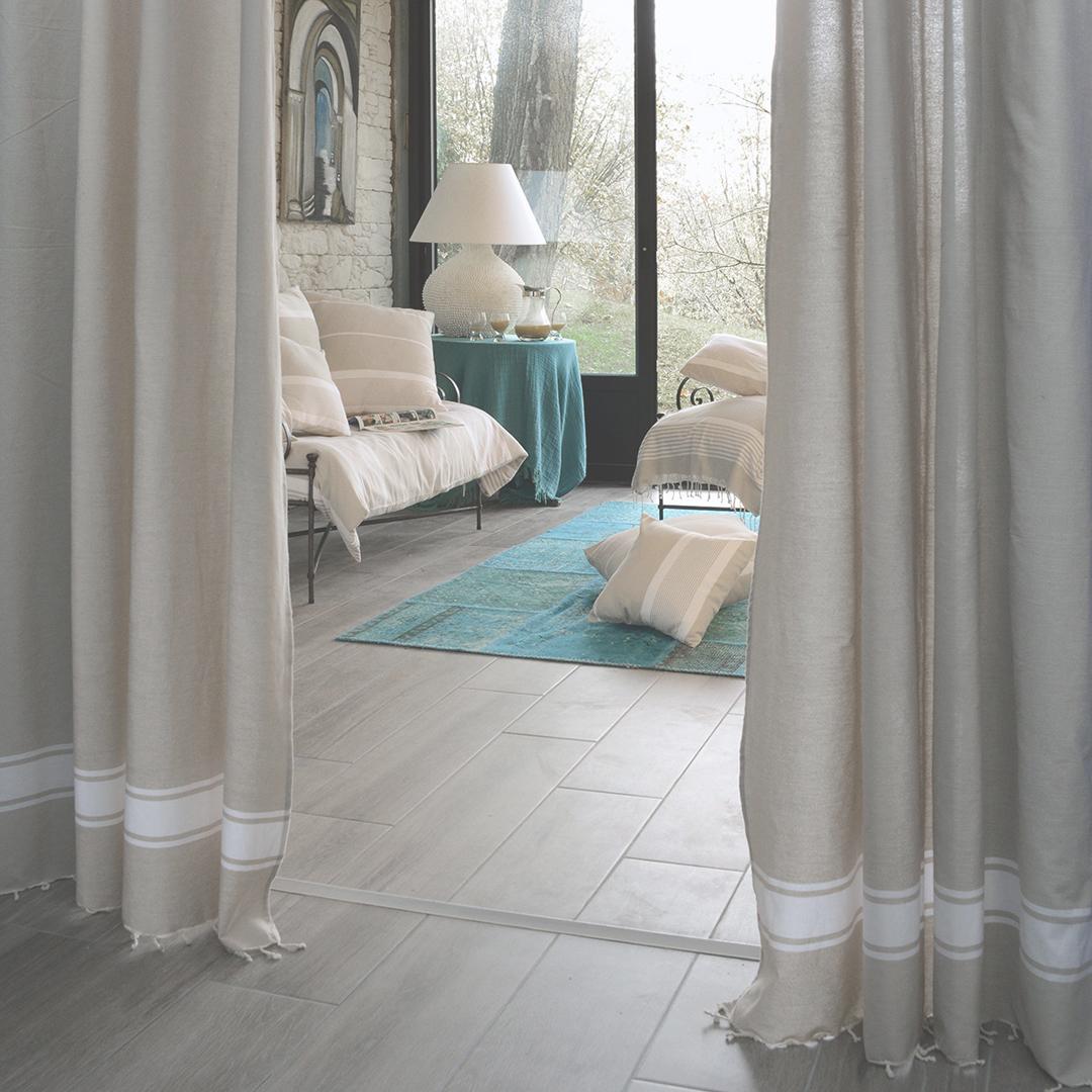 CASABLANCA - Rideau ajustable coton écru et blanc 140 x 210 à 240