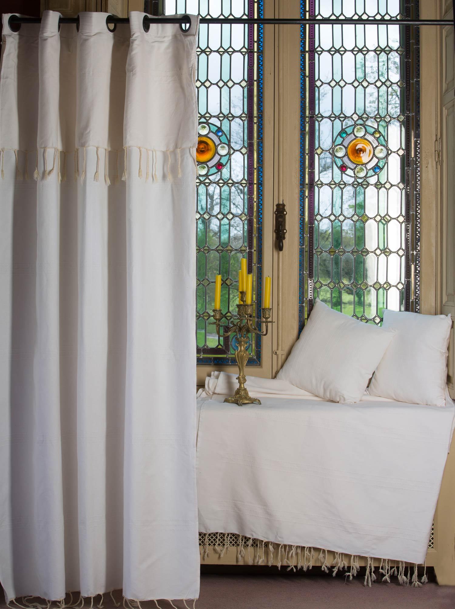 FES - Rideau ajustable en hauteur coton uni blanc-écru 140 x 250 à 280