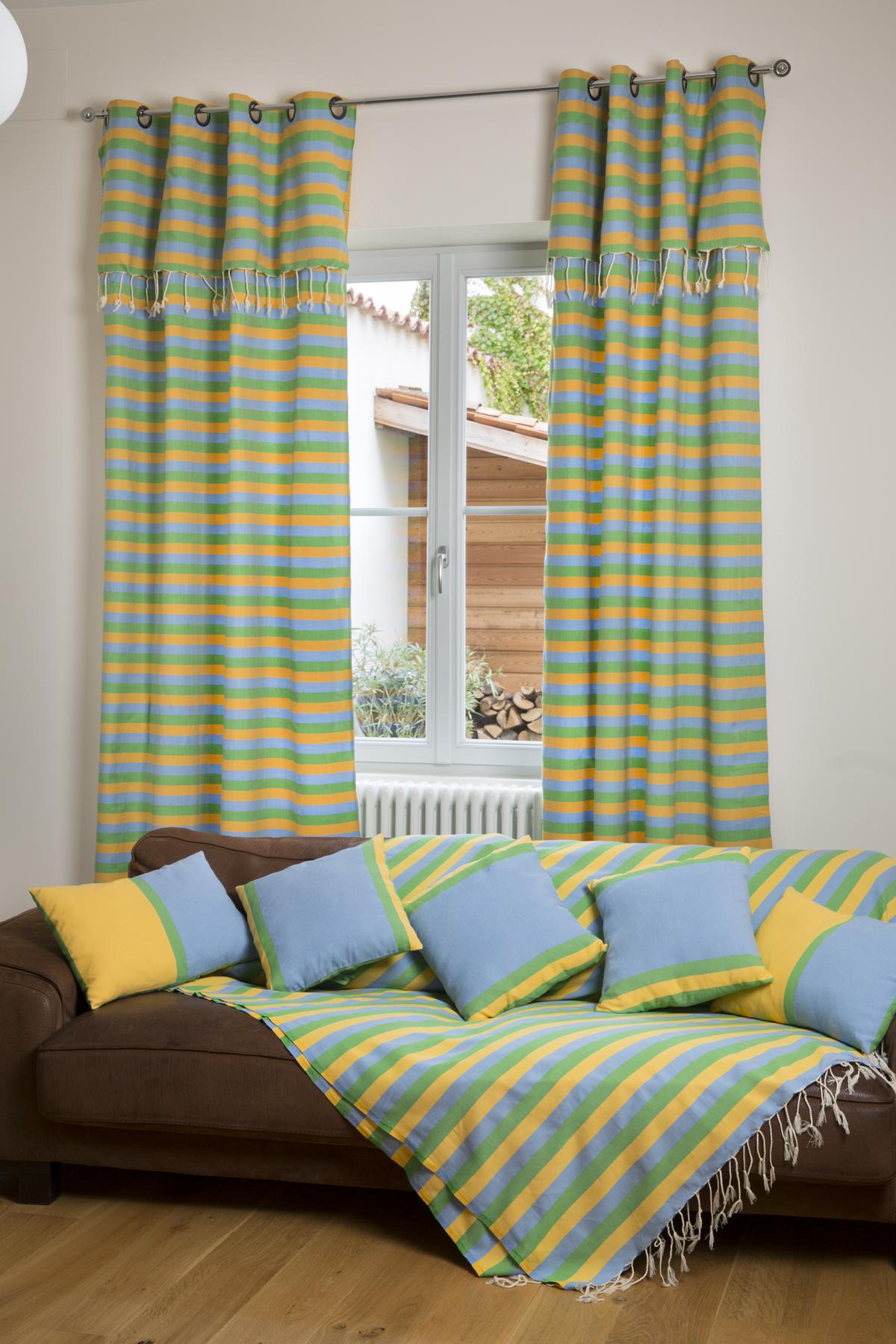 DJERBA - Rideau ajustable coton jaune turquoise vert 140 x 250 à 280