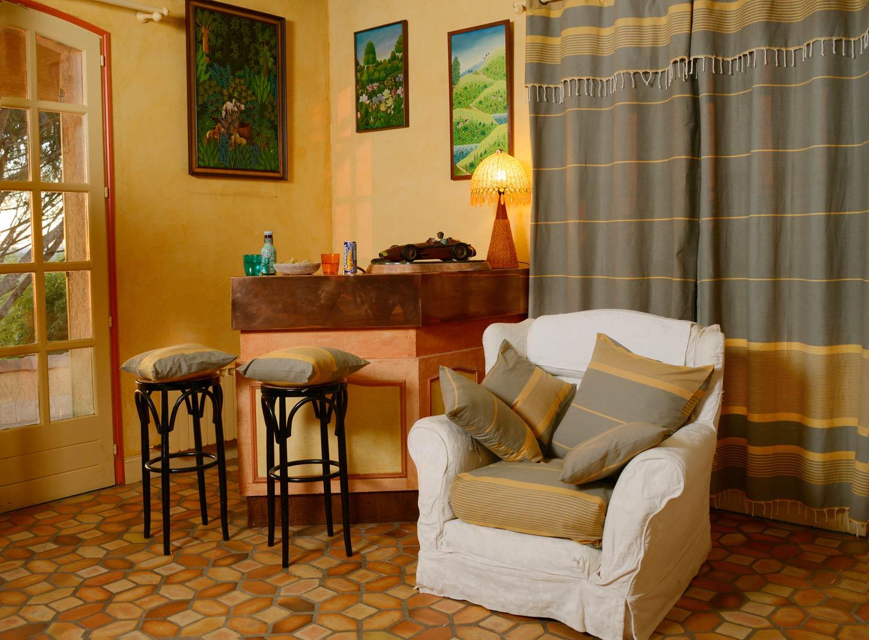 CARTHAGE - Rideau ajustable 100% coton ocre et taupe 140 x 210 à 240