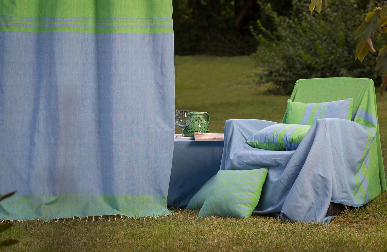 TANGER - Rideau ajustable coton rayures vert et bleu 140 x 250 à 280