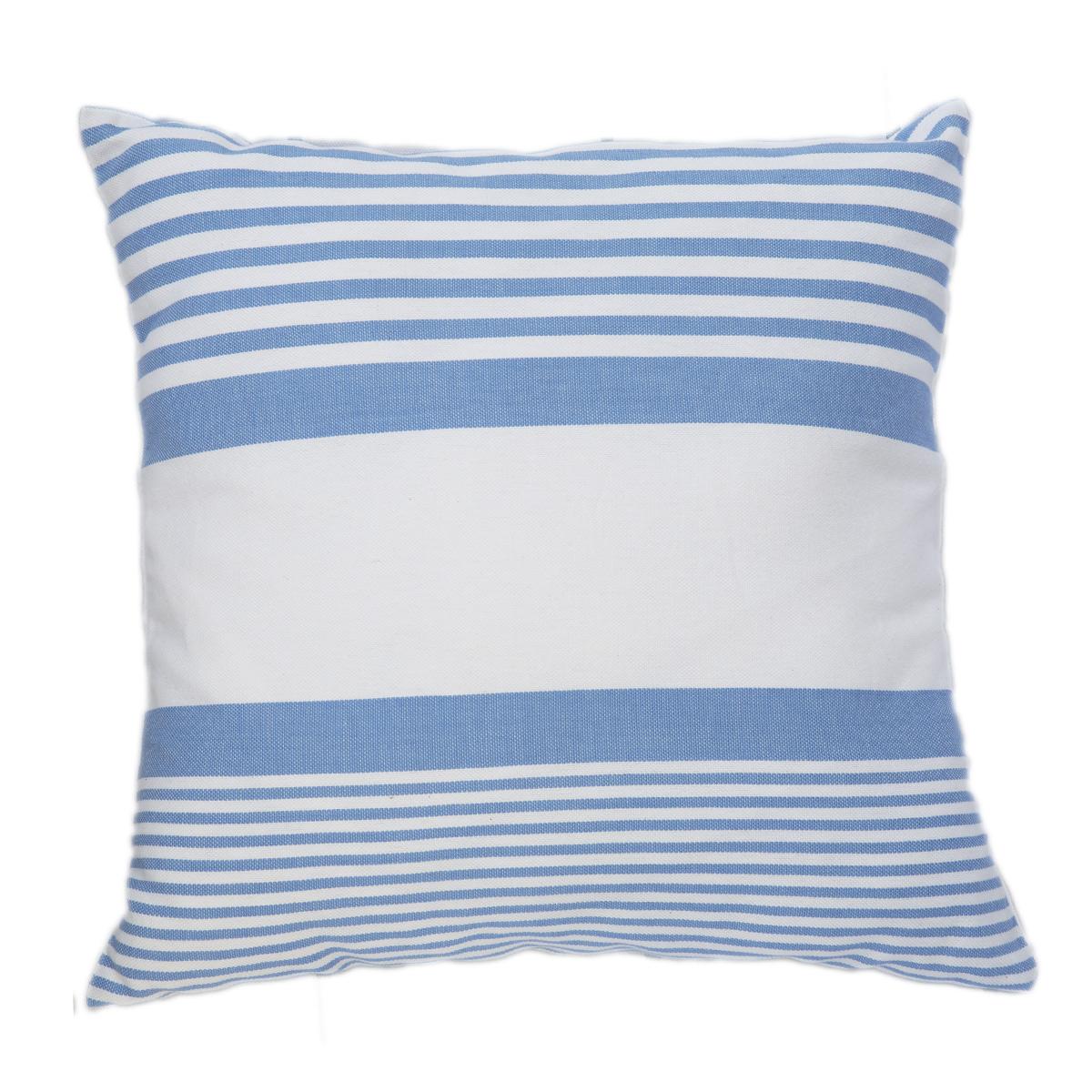 CARTHAGE - Housse de coussin coton rayures bleu fond blanc 40 x 40