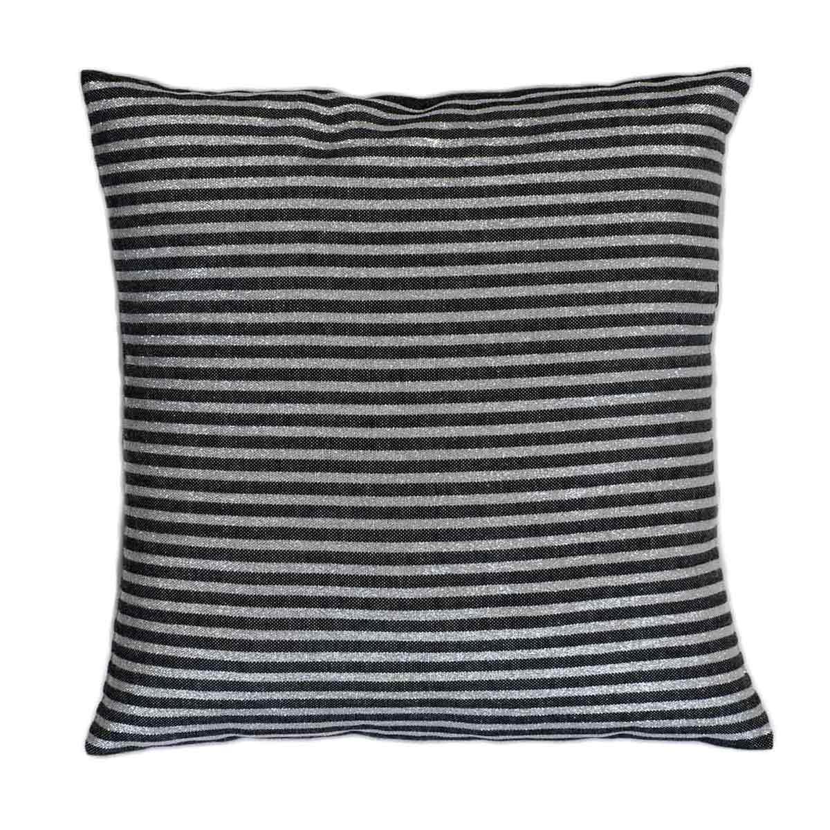 BODRUM - Housse de coussin coton fond noir et rayures argent 40 x 40