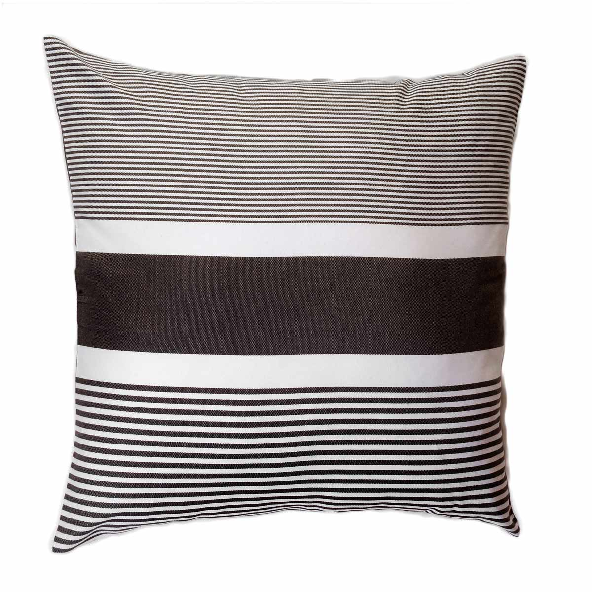 CARTHAGE - Housse de coussin coton anthracite rayures blanches 60 x 60