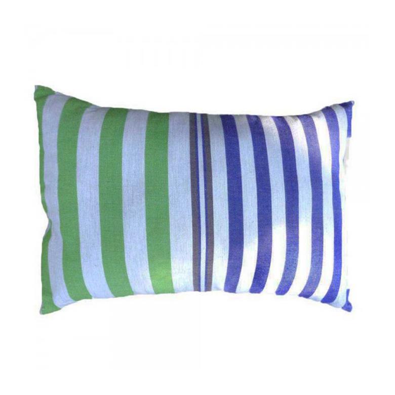 Housse coussin coton gris bleu rayures multicolores 35 x 50