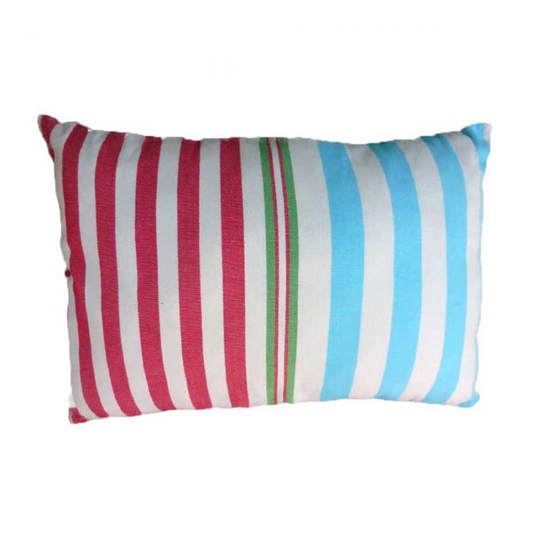 AGADIR - Housse de coussin coton écru à rayures multicolores 35 x 50