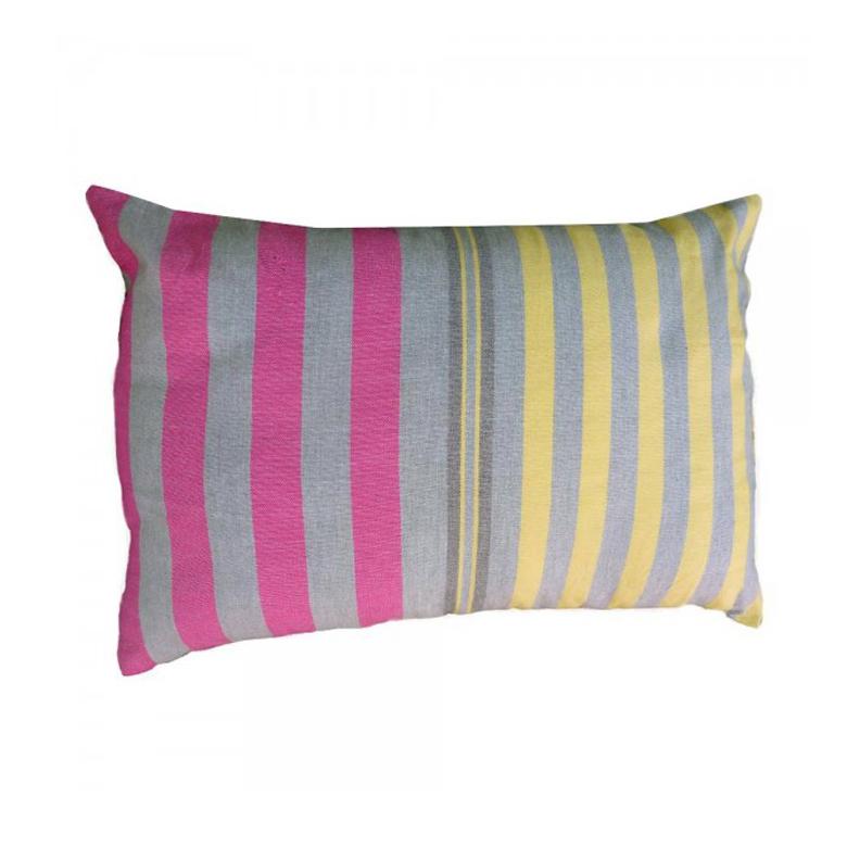 AGADIR - Housse de coussin coton gris rayures multicolores 35 x 50