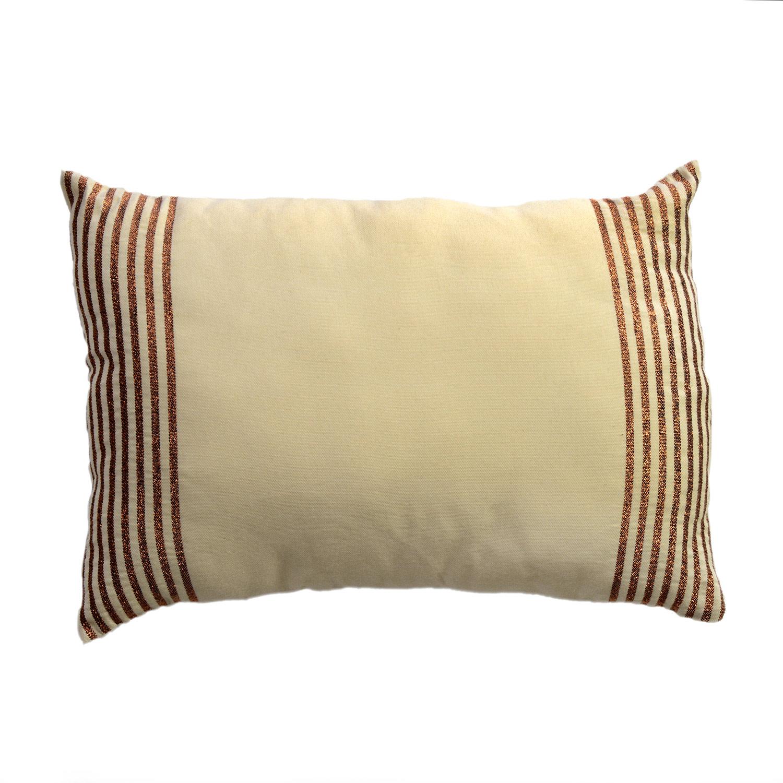 BODRUM - Housse de coussin coton fond noir et rayures argent 35 x 50