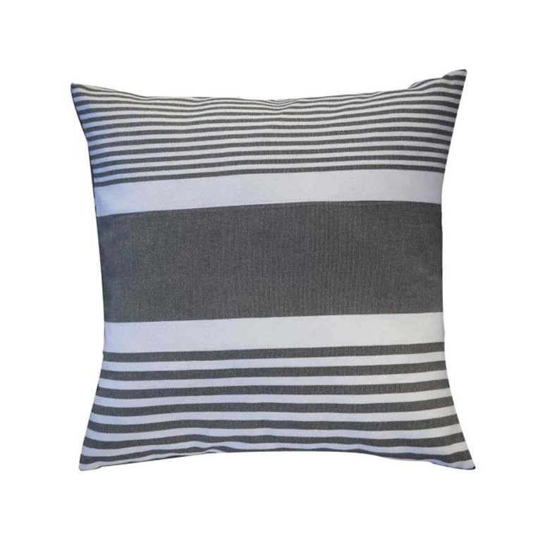 CARTHAGE - Housse de coussin coton anthracite rayures blanches 40 x 40