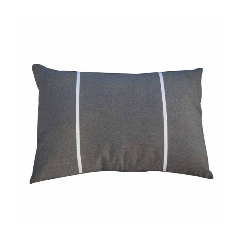 CARTHAGE - Housse de coussin coton anthracite rayures blanches 35 x 50