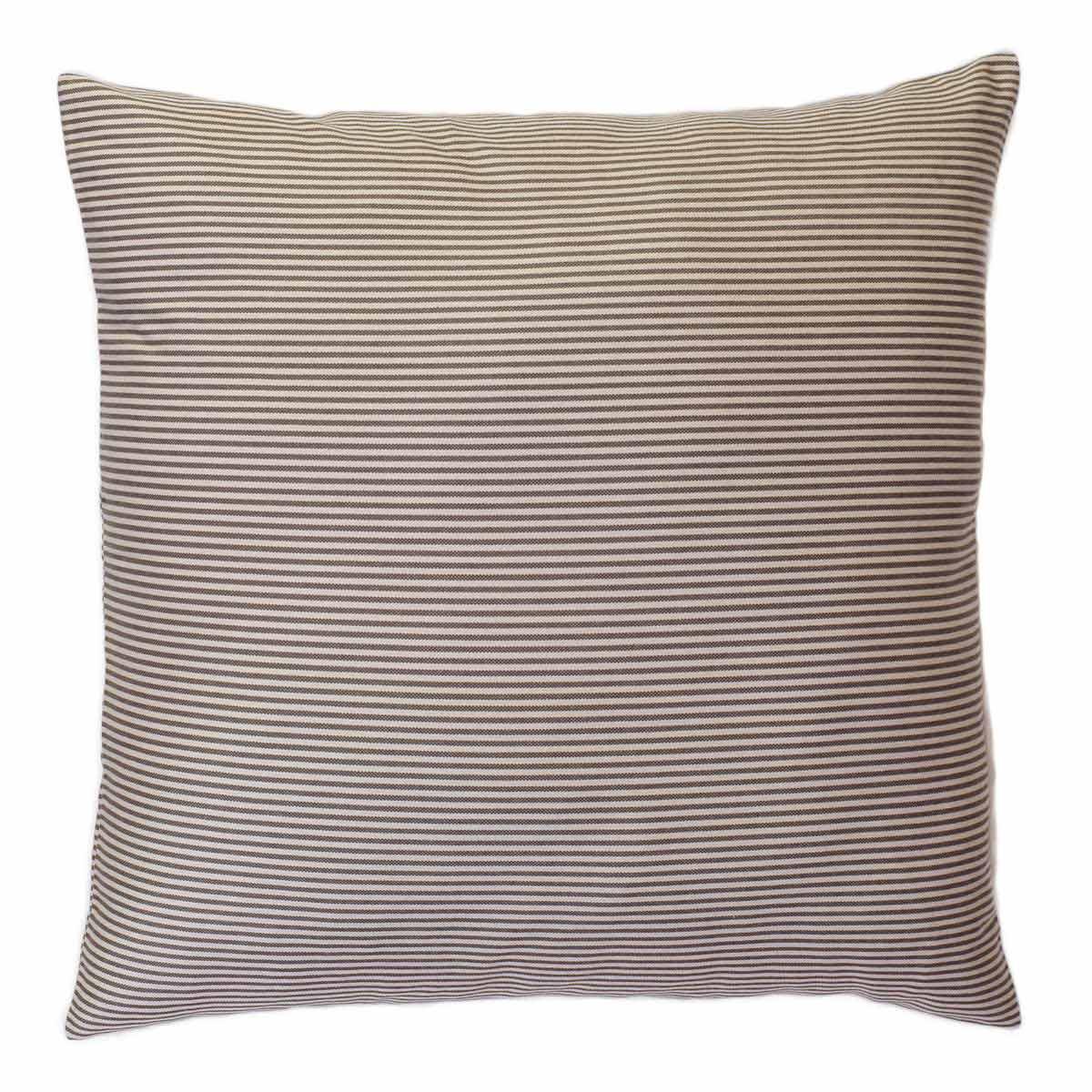 TANGER - Housse de coussin en coton à rayures écru et taupe 60 x 60