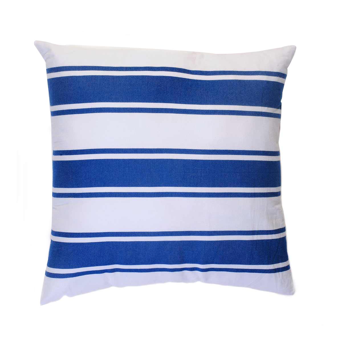 CASABLANCA - Housse de coussin coton rayures bleu fond blanc 40 x 40
