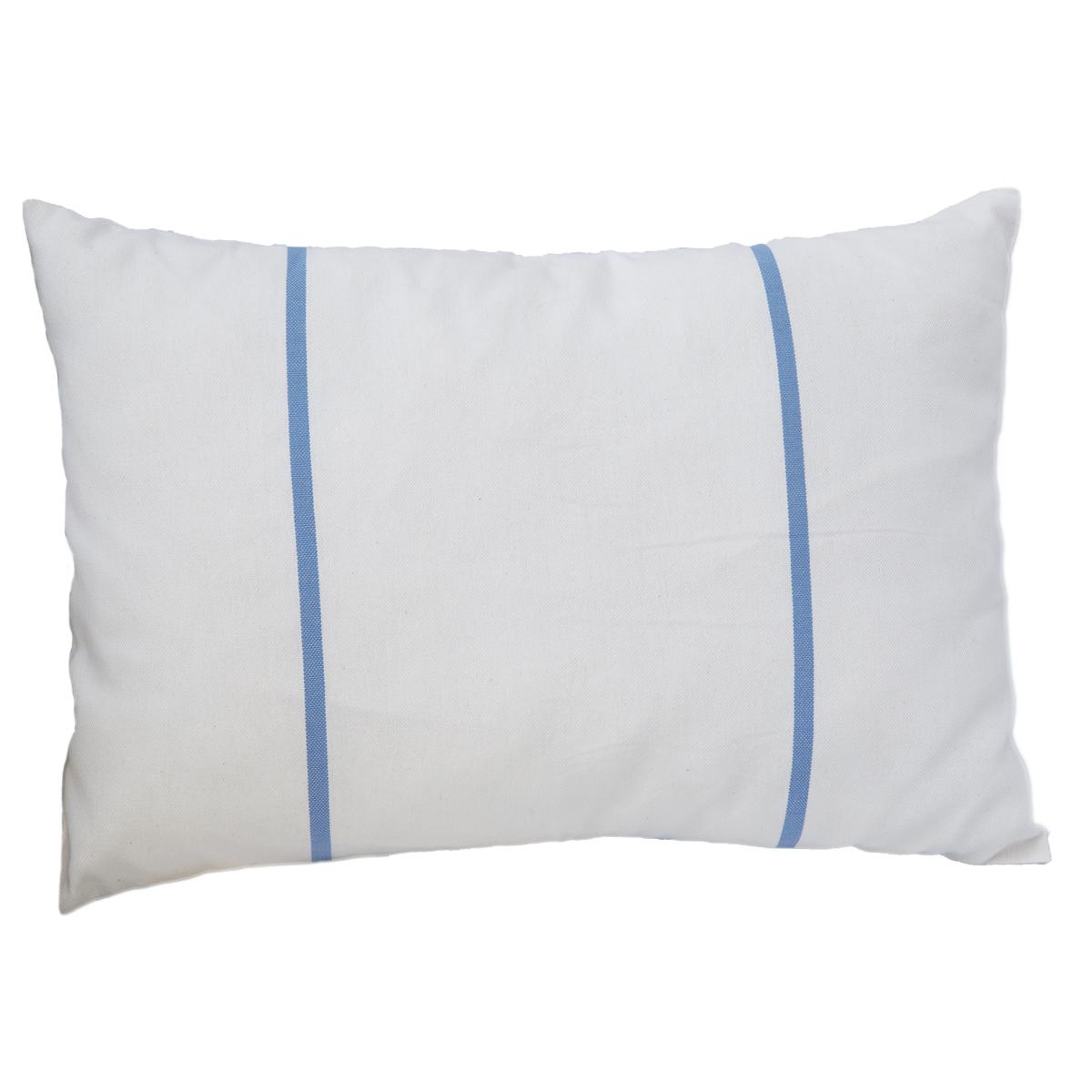 CARTHAGE - Housse de coussin coton rayures bleu fond blanc 35 x 50