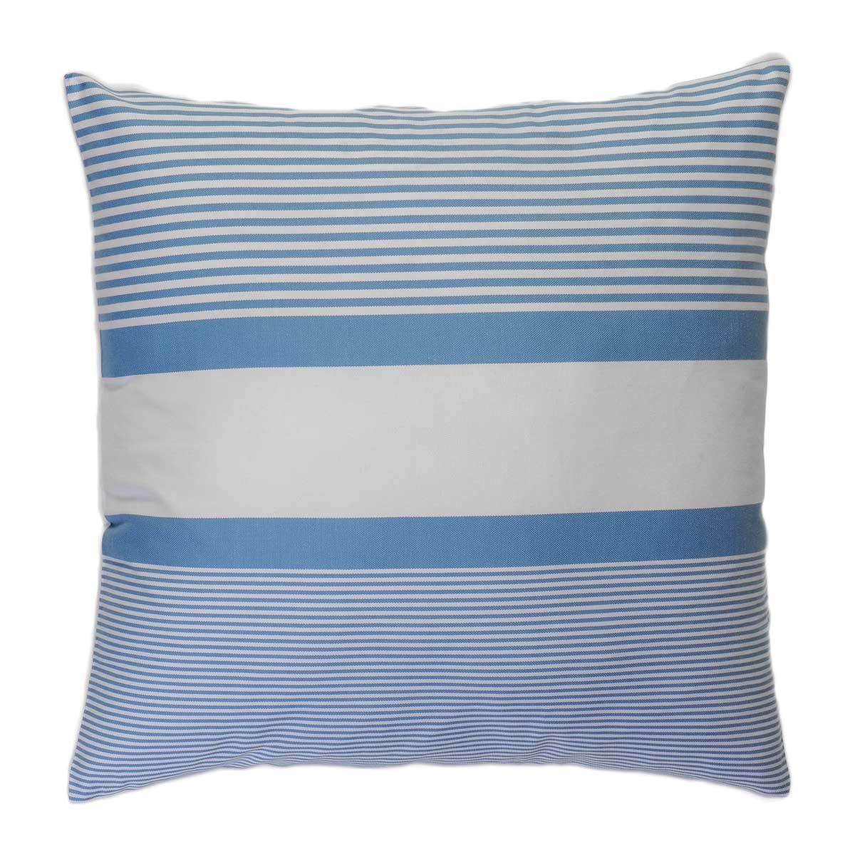 CARTHAGE - Housse de coussin coton rayures bleu fond blanc 60 x 60