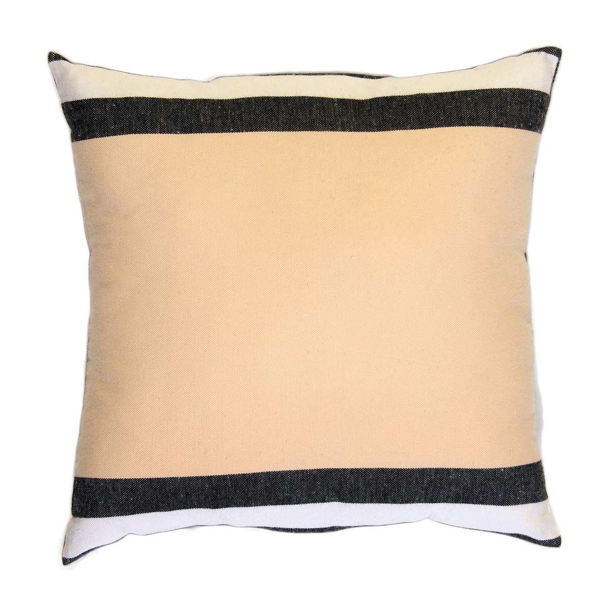 DJERBA - Housse de coussin coton tri-bande noir blanc et écru 40 x 40
