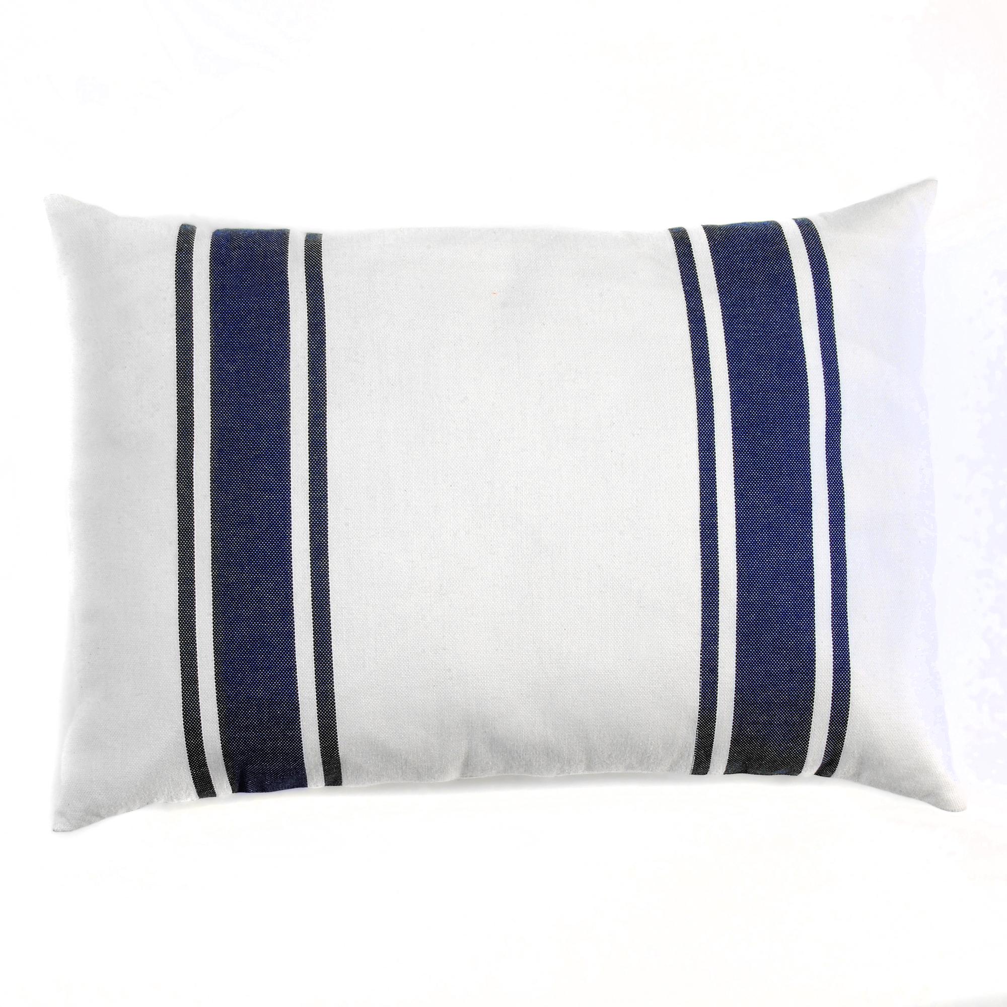 CASABLANCA - Housse de coussin coton rayures bleu fond blanc 35 x 50