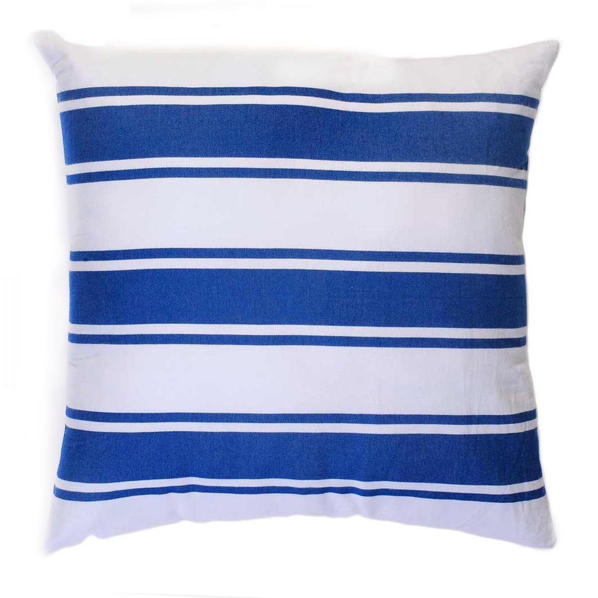CASABLANCA - Taie d'oreiller coton rayures bleu fond blanc 60 x 60