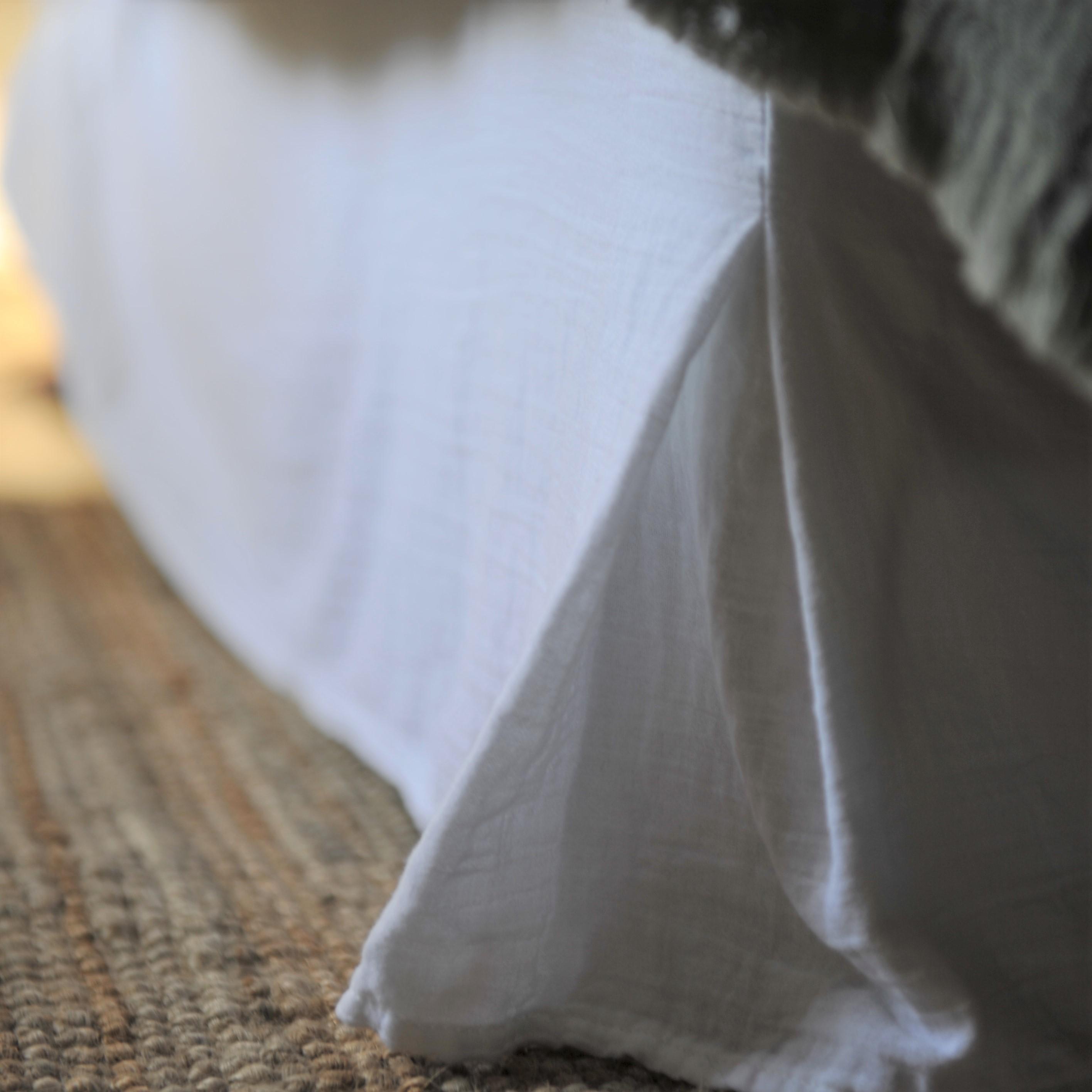 Cache sommier gaze de coton blanc 180X200X32 CM (photo)