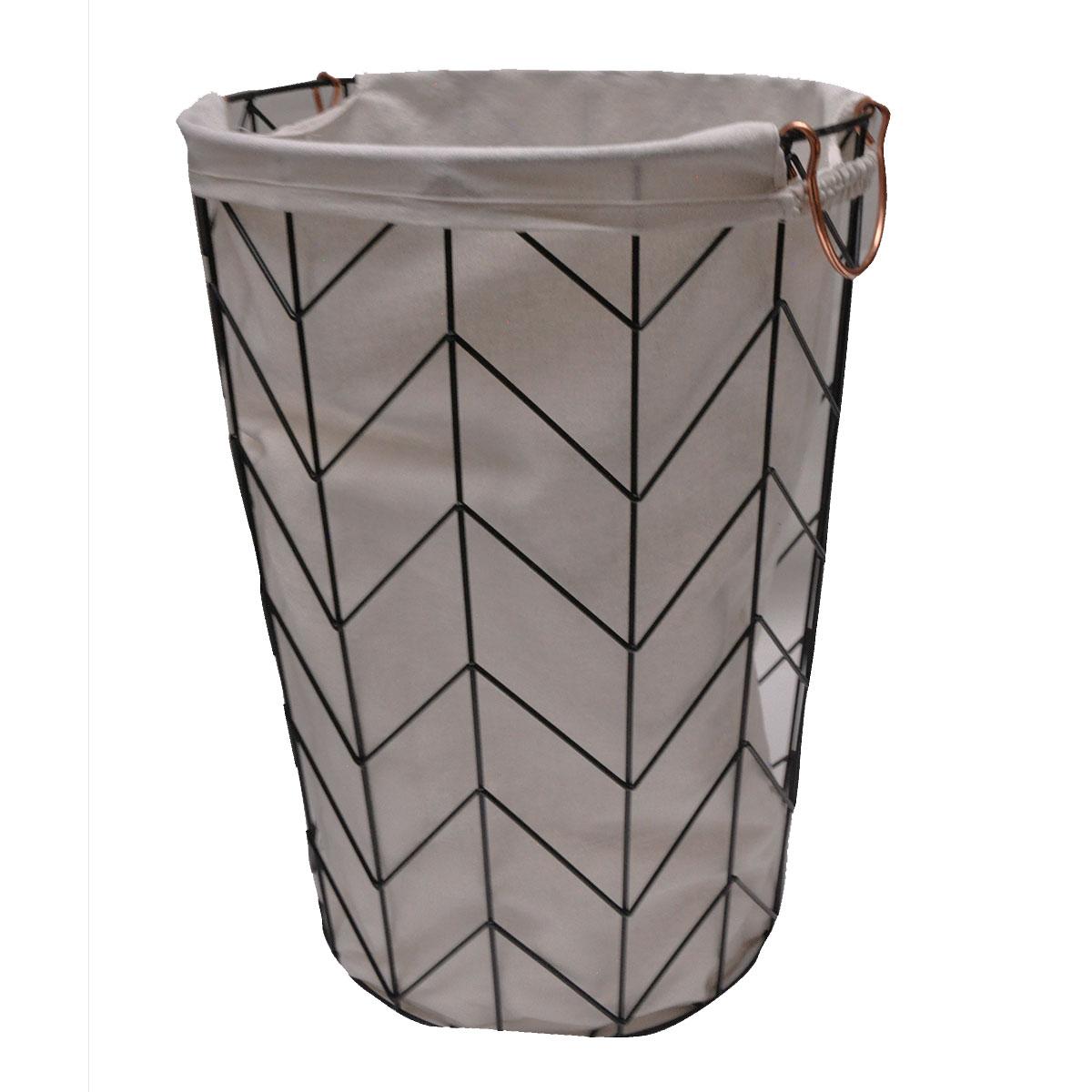 Lingère en métal géométrique avec sac en tissu métal noir et cuivre