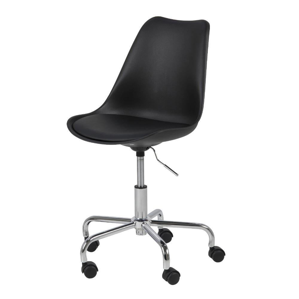 Chaise de bureau assise tapissée noir