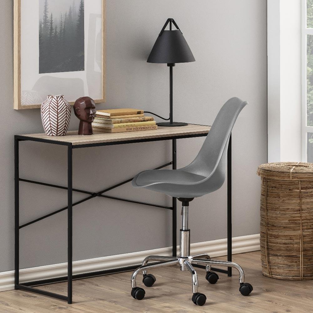 Chaise de bureau assise tapissée gris