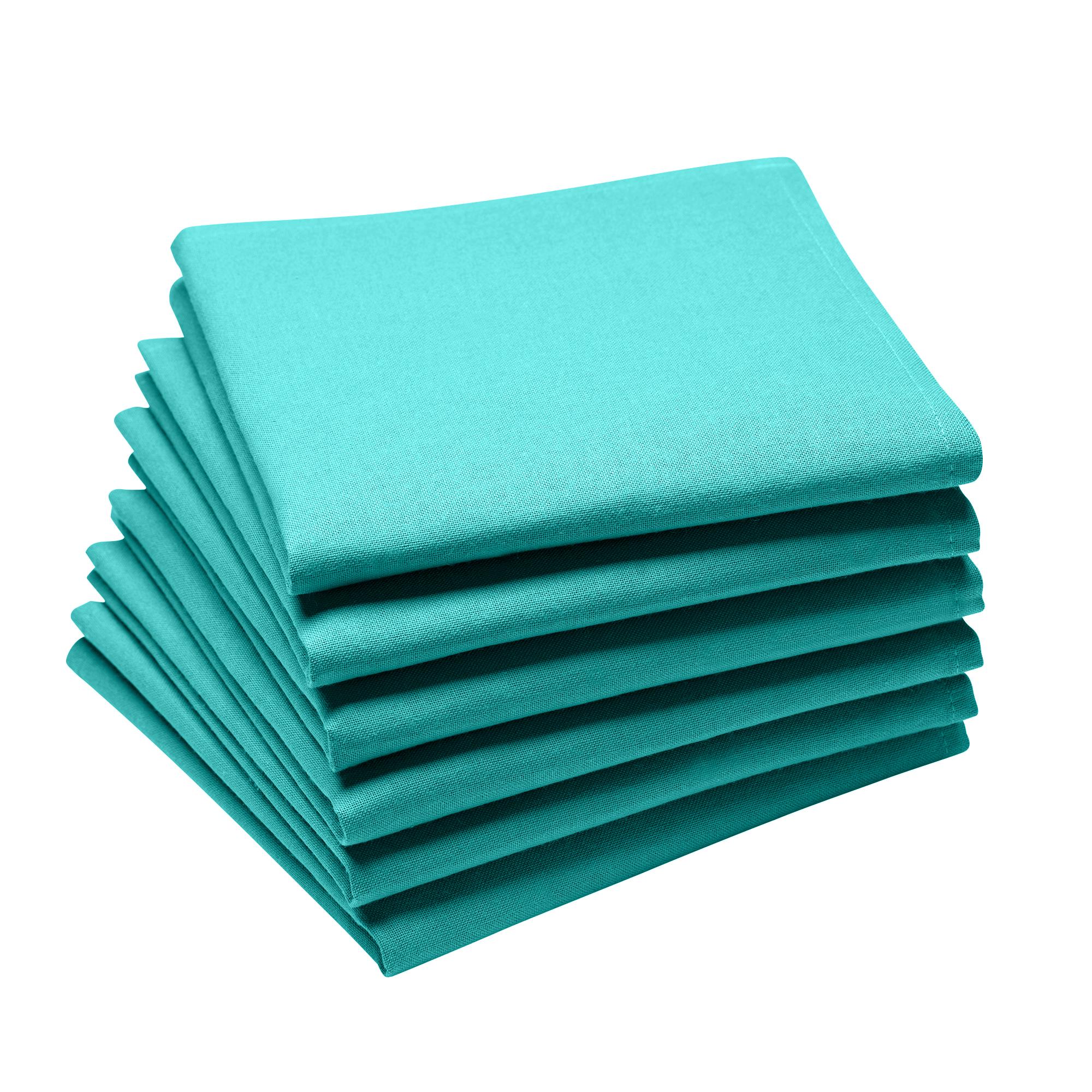 Lot de 6 serviettes en coton traite Teflon, Turquoise 45 x 45