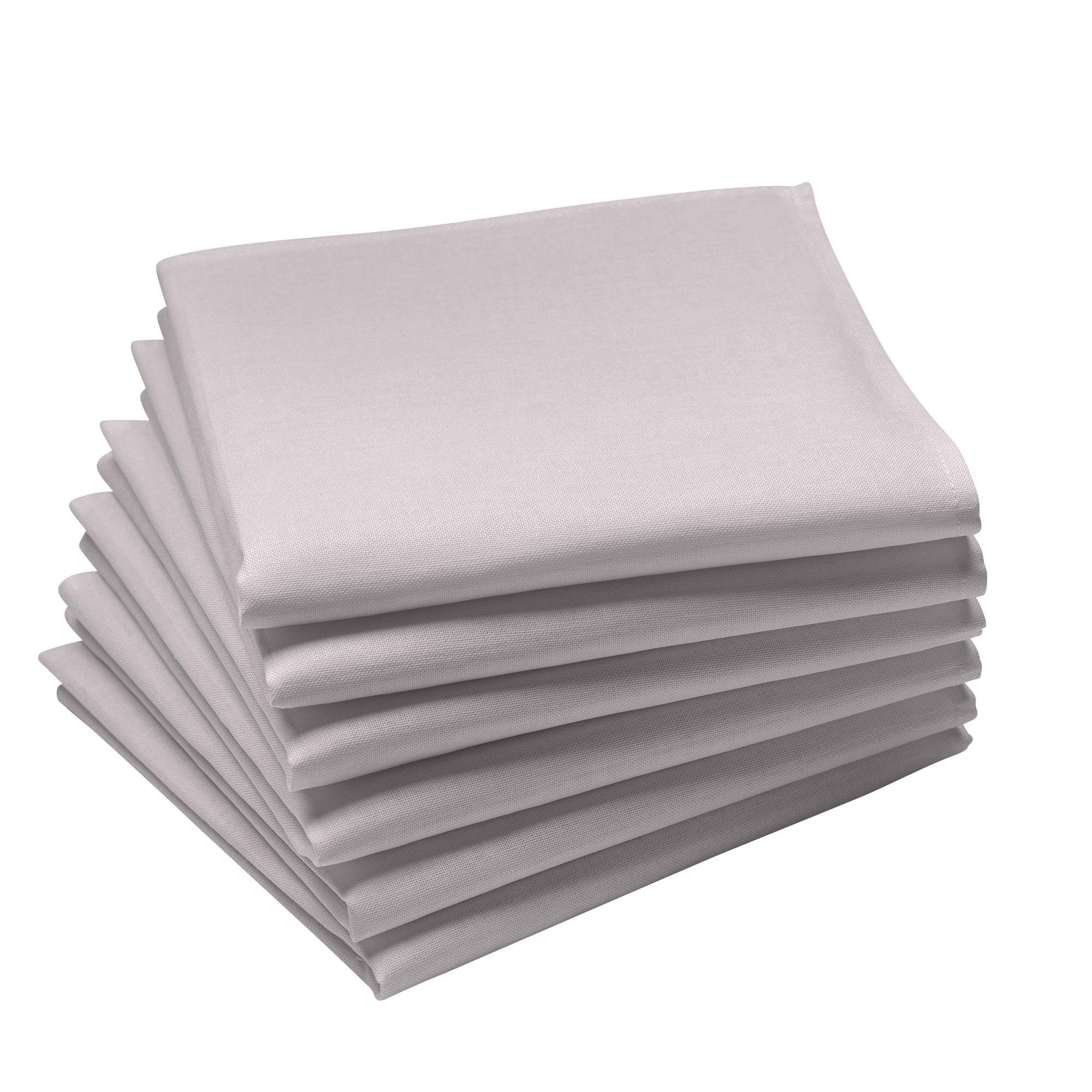 Lot de 6 serviettes en coton traite Teflon, Perle 45 x 45