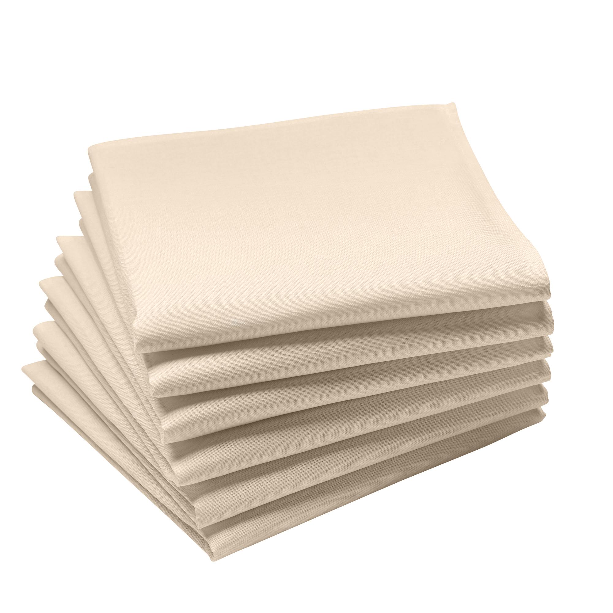 Lot de 6 serviettes en coton traite Teflon, Sable 45 x 45