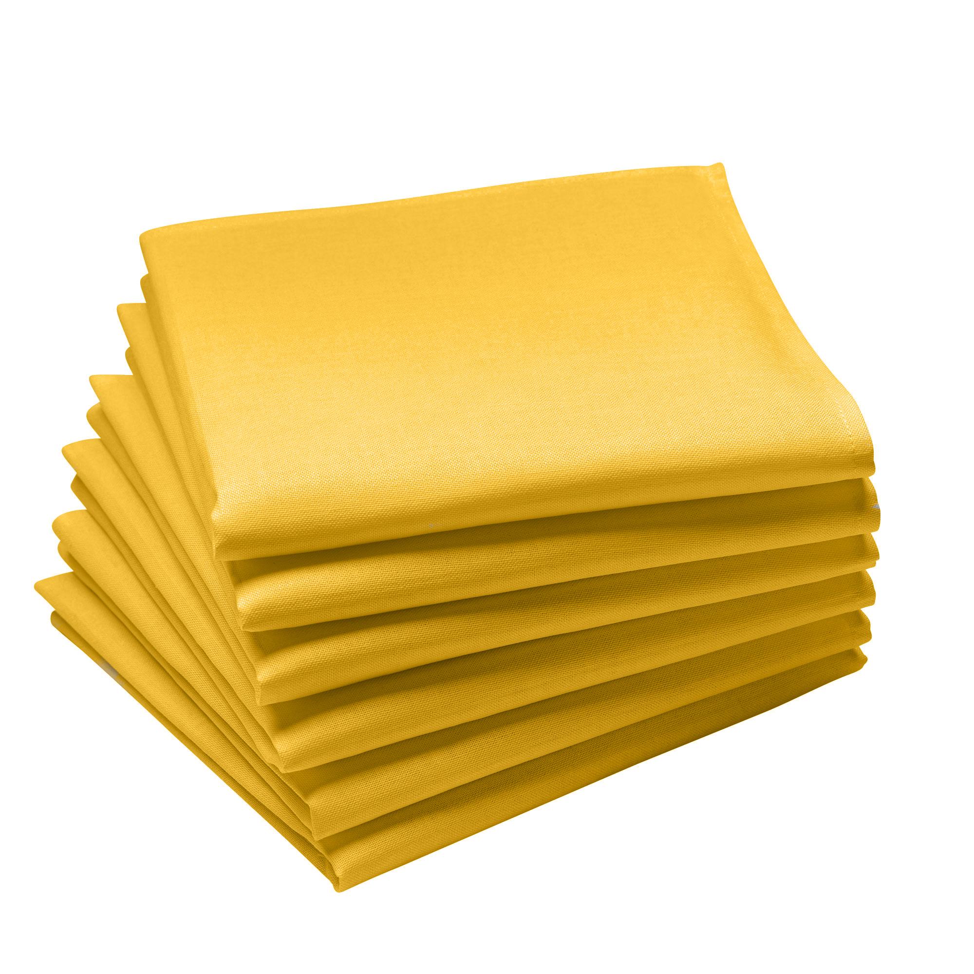 Lot de 6 serviettes en coton traite Teflon,  Curry 45 x 45