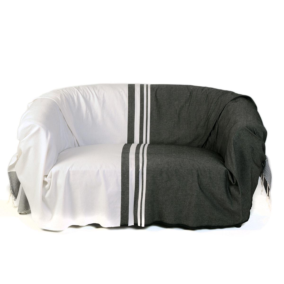 TANGER - Jeté de canapé 100% coton rayures noir et blanc 200 x 300