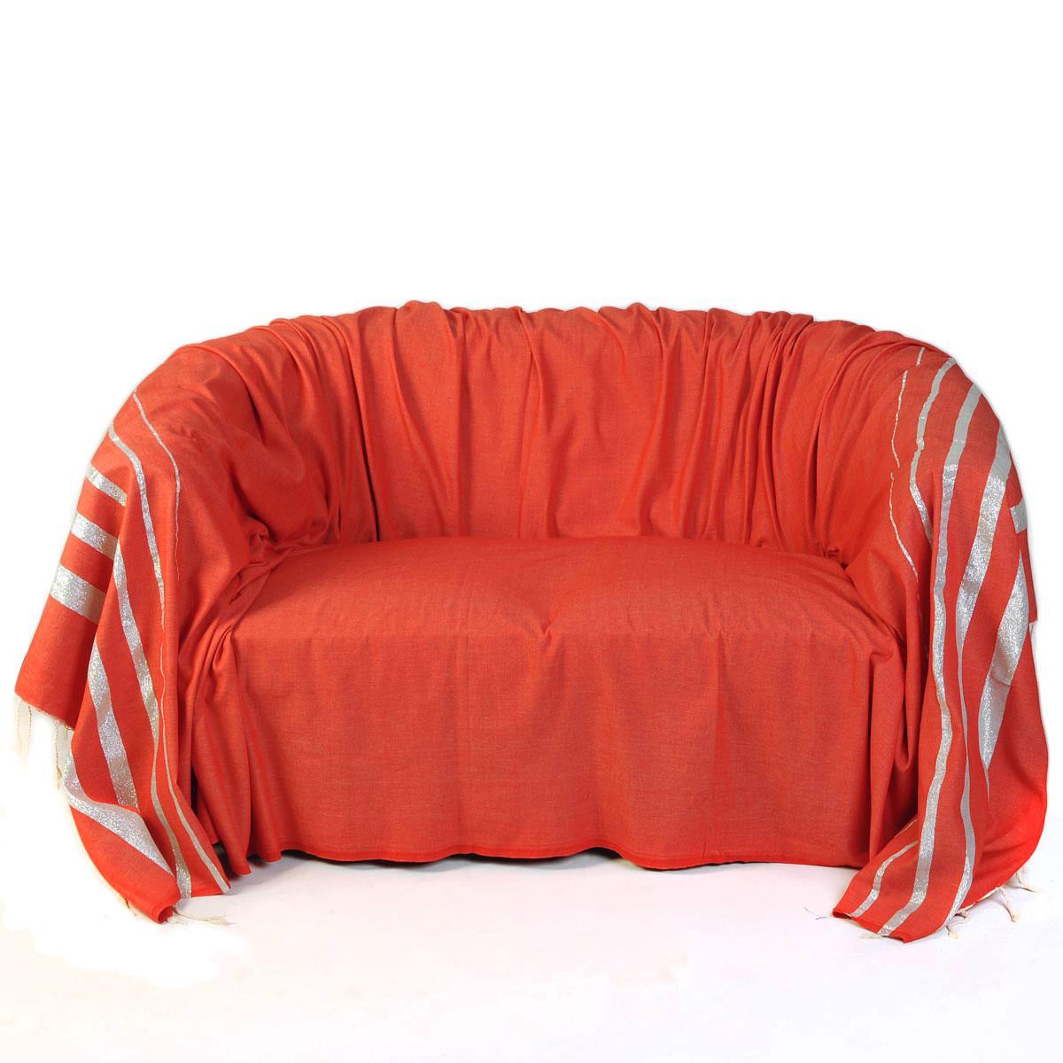 ISTANBUL - Jeté de canapé coton rouge lurex rayures argent 200 x 300