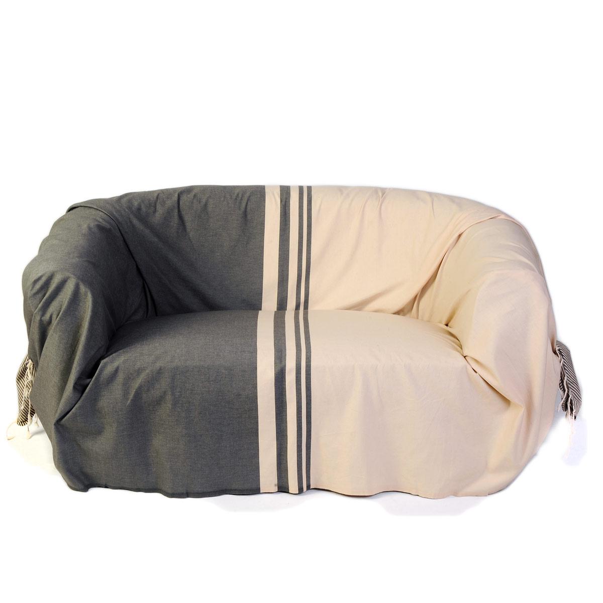 TANGER - Jeté de canapé 100% coton rayures écru et taupe 200 x 300